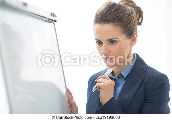 Portrait of thoughtful business woman near flipchart - csp19193000