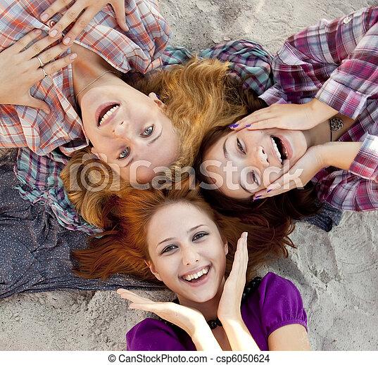 Portrait of three beautiful women. - csp6050624