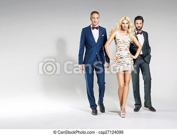 Portrait of three classy people - csp27124099