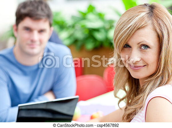 Portrait of two bright students working - csp4567892