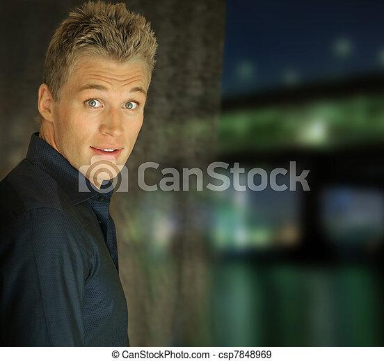 Portrait of very goodlooking young man  - csp7848969