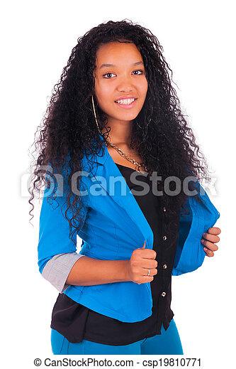 Portrait of Woman african black - csp19810771
