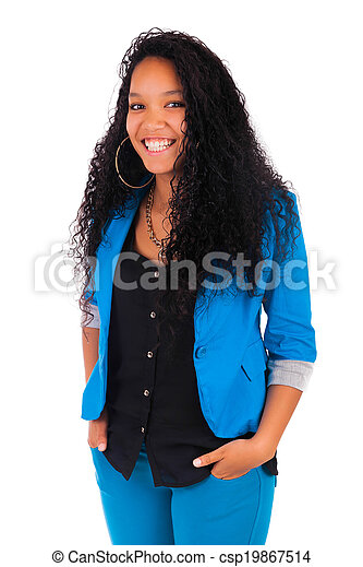 Portrait of Woman african black - csp19867514