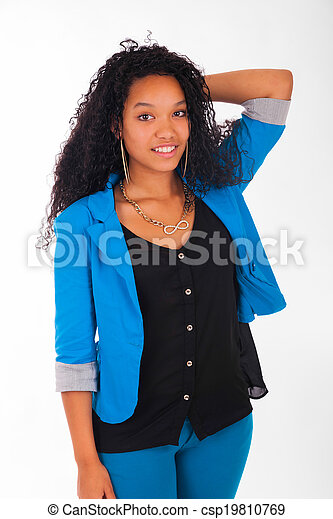 Portrait of Woman african black - csp19810769