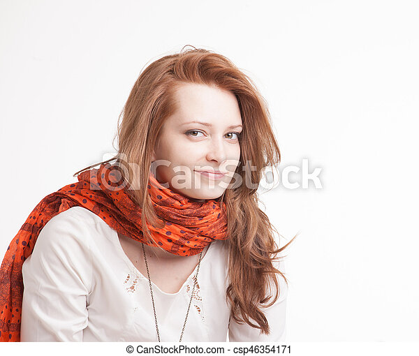 Portrait of woman in vintage clothes on a white background. - csp46354171