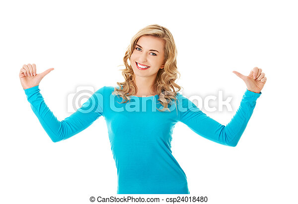 Portrait of woman pointing on herself - csp24018480