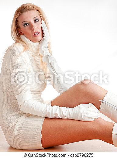 portrait of woman sitting on the floor - csp2796275