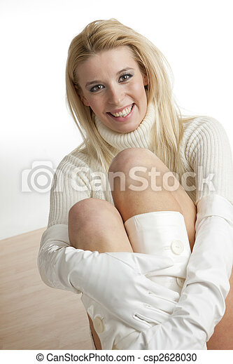 portrait of woman sitting on the floor - csp2628030