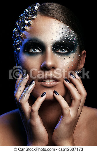 Portrait of woman with artistic make-up - csp12607173