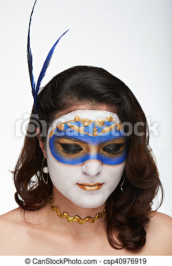 portrait of woman with closed eyes - csp40976919