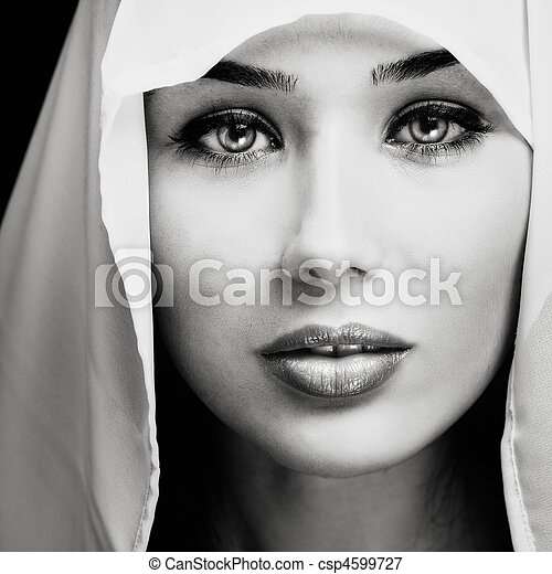 Portrait of woman with sensual expressive face - csp4599727