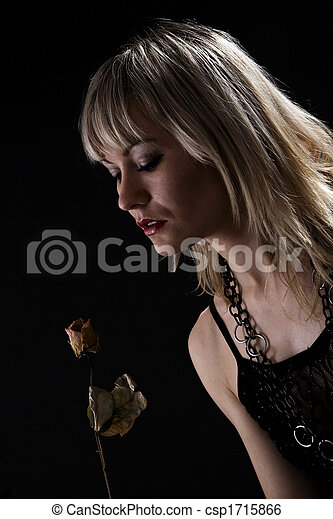 Portrait of woman with the rose - csp1715866