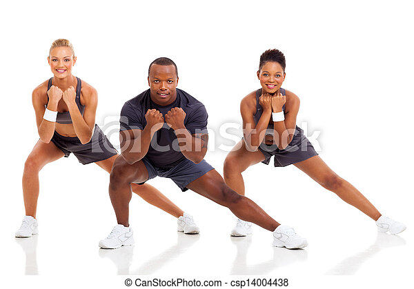 portrait of young adult exercising - csp14004438