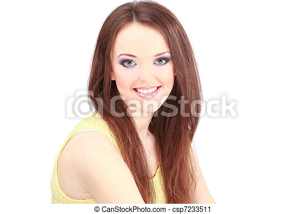 Portrait of young adult woman with health skin of face - csp7233511