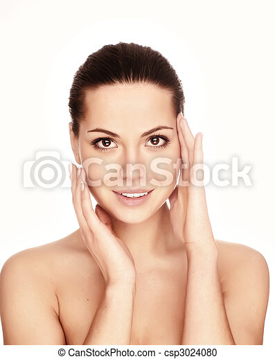 Portrait of young adult woman with health skin of face - csp3024080