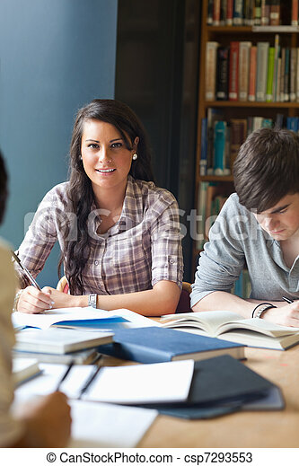 Portrait of young adults studying - csp7293553