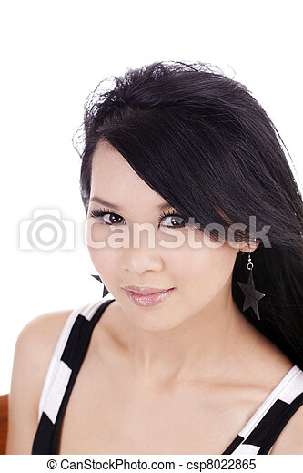 Portrait of Young Attractive Asian American Woman - csp8022865