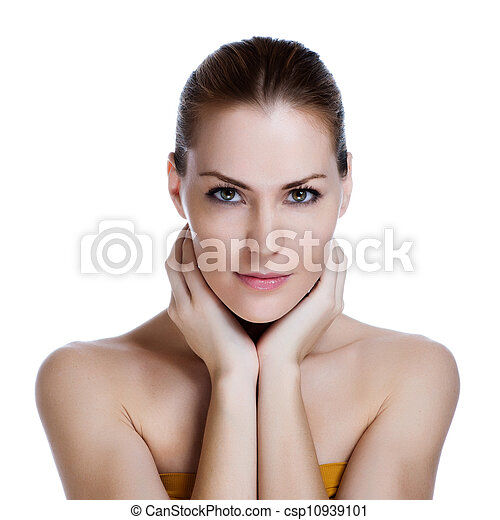 Portrait of young beautiful woman with healthy skin - csp10939101