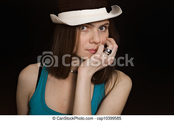 portrait of young blue-eyed girl in white hat - csp10399585