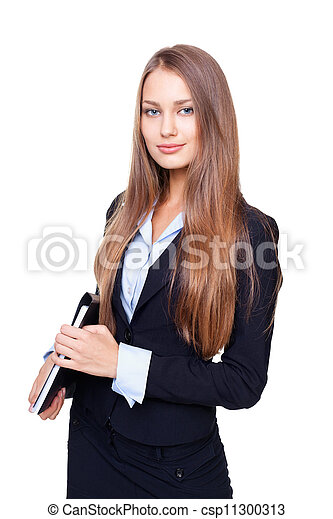 Portrait of young business woman with folder isolated on white background - csp11300313
