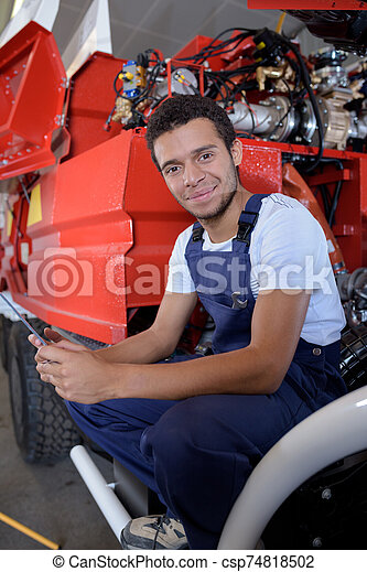 portrait of young maintenance engineer for the fire service - csp74818502