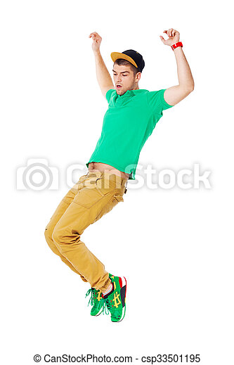 Portrait of young man b-boying in studio isolated on white. - csp33501195