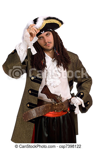 Portrait of young man in a pirate costume - csp7398122