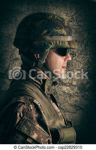 Portrait of young soldier - csp22829310