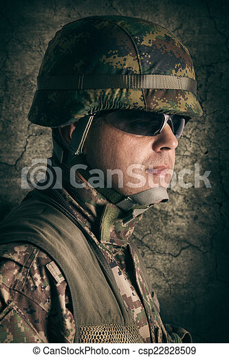 Portrait of young soldier - csp22828509