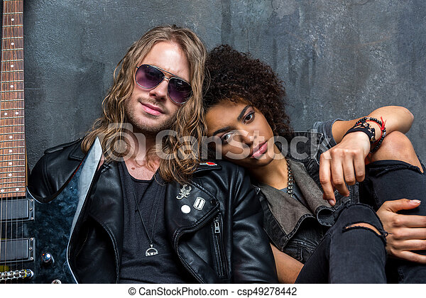 portrait of young stylish man and woman in love - csp49278442