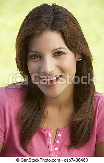 Portrait Of Young Woman In Park - csp7436480