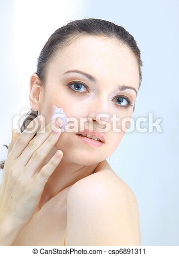 Portrait of young woman with health skin of face - csp6891311