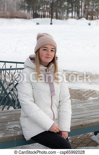 portrait on a bench - csp65992028