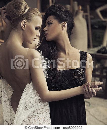 portrait, parfait, femme, couple - csp8092202