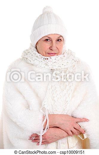 portrait, personne agee, dame, joli - csp10009151