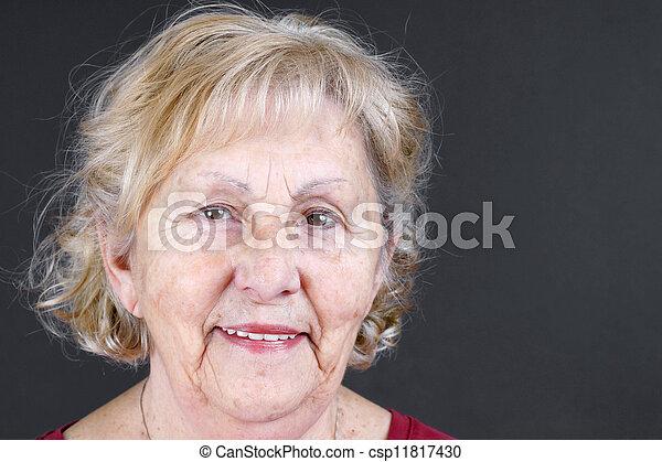 portrait, personne agee, franc, femme - csp11817430