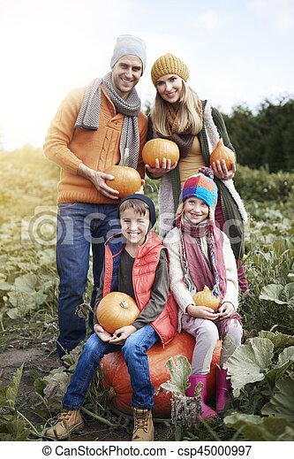 portrait, potirons, halloween, famille, heureux - csp45000997
