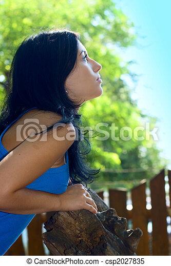 Portrait Pretty woman outdoor - csp2027835