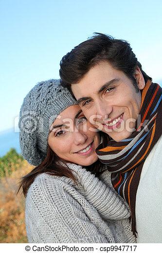 portrait, saison, couple, heureux, automne - csp9947717