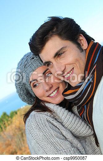 portrait, saison, couple, heureux, automne - csp9950087