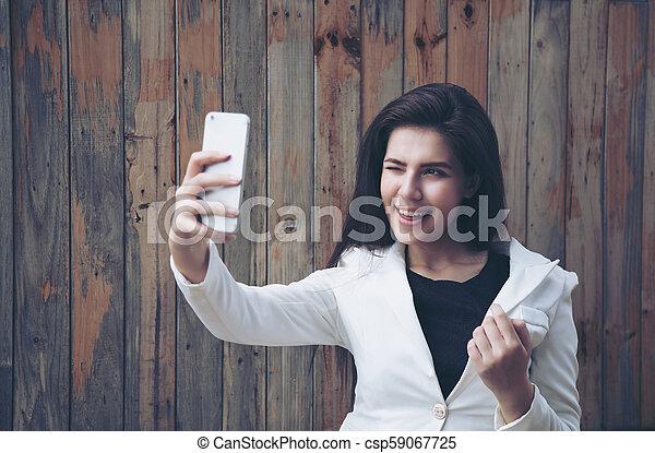 portrait, selfie, girl - csp59067725