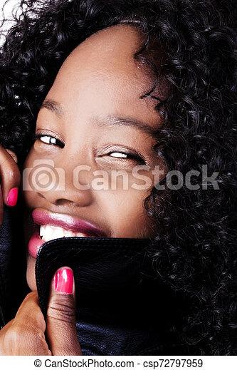 Portrait Smiling Attractive African American Woman Black Jacket - csp72797959