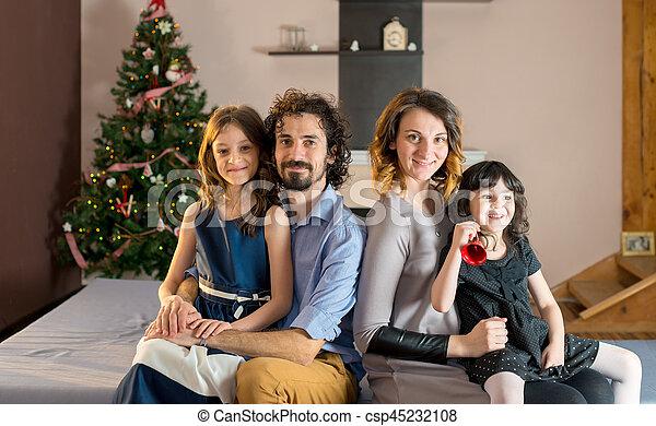 portrait, sourire, noël, temps famille - csp45232108