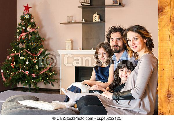 portrait, sourire, noël, temps famille - csp45232125