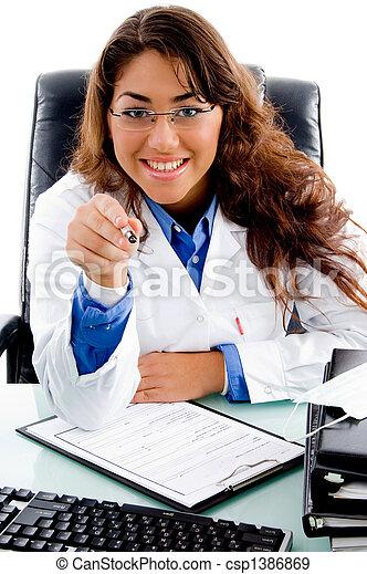 portrait, stylo, sourire, pointage, docteur - csp1386869