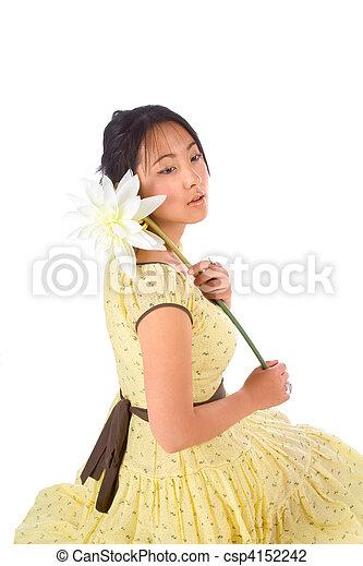 Portrait with flower - csp4152242