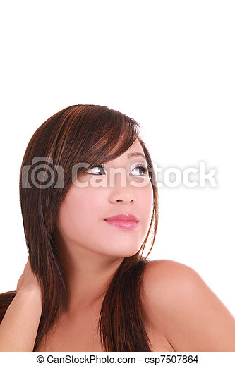 Portrait Young Perky Attractive Asian American Woman - csp7507864