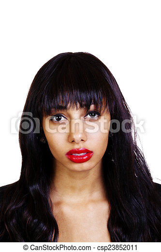 Portrait Young Skinny Attractive African American Woman - csp23852011