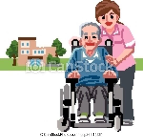 portraits of smiling senior man in wheelchair and caregiver with rh canstockphoto com nursing home ministry clipart free nursing home clipart