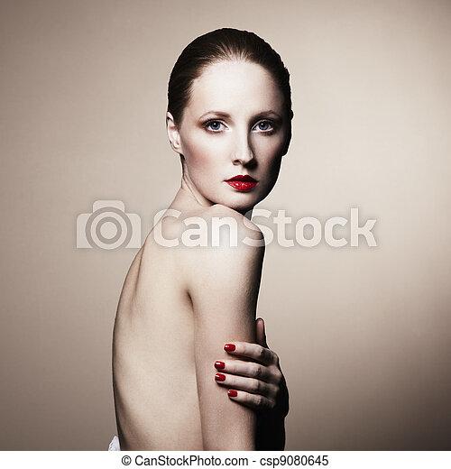 portret, elegancki, nagi, fason, kobieta - csp9080645